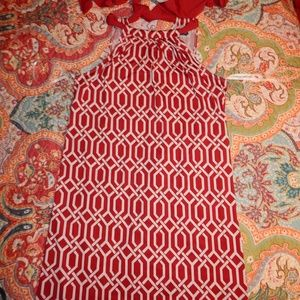 WOMENS MUD PIE NATALIE BOW TIE DRESS RED WHITE M